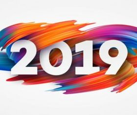 Paint abstract 2019 new year background vector