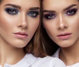 Painted black eyeshadows Beautiful fashion sisters Stock Photo 04
