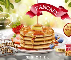 Pancake mix poster template vector 02