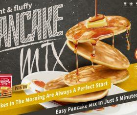 Pancake mix poster template vector 03