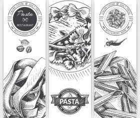 Pasta menu template black vector 01