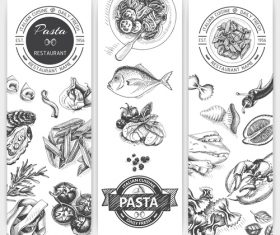 Pasta menu template black vector 02