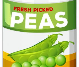 Peas canned vector