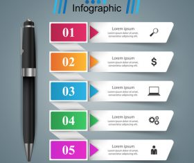 Pen with colored option infographic vector