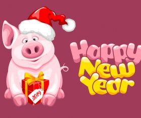 Pig new year with christmas gift vector