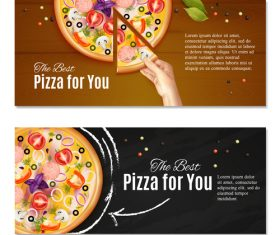 Pizza realistic horisontal banner vector