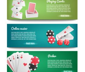 Playing cards casino banners realistic 3d vector
