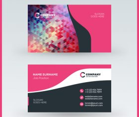 Polygon company business card template vector 01