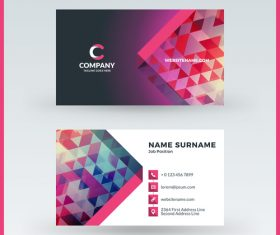 Polygon company business card template vector 02