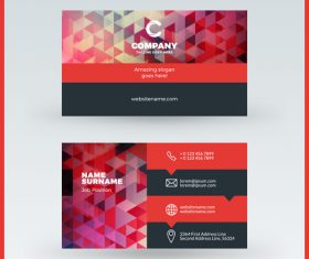 Polygon company business card template vector 03