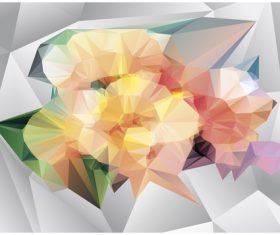Polygonal geometric shape flowers design vector 02