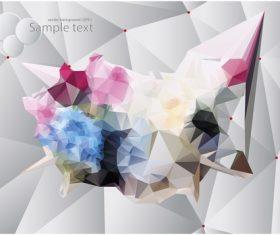 Polygonal geometric shape flowers design vector 03