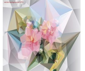 Polygonal geometric shape flowers design vector 05
