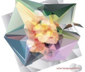 Polygonal geometric shape flowers design vector 06