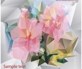 Polygonal geometric shape flowers design vector 07