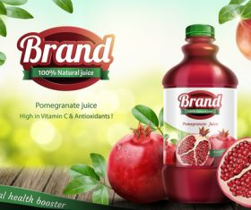 Pomegranate juice poster template vector 01