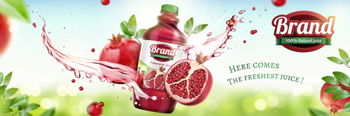 Pomegranate juice poster template vector 02