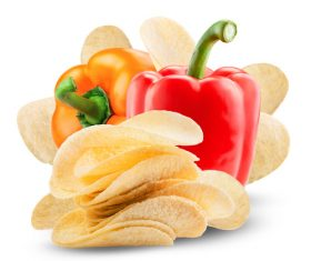 Potato chips and red pepper Stock Photo