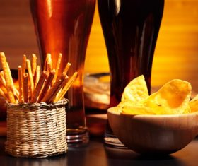Potato chips beer snack Stock Photo 03