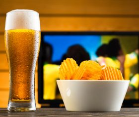 Potato chips beer snack Stock Photo 05