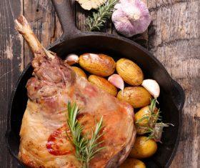 Potato spice and stewed lamb leg Stock Photo 02