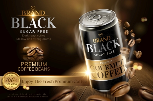 Premium black canned coffee ads with beans background in 3d illustration 01