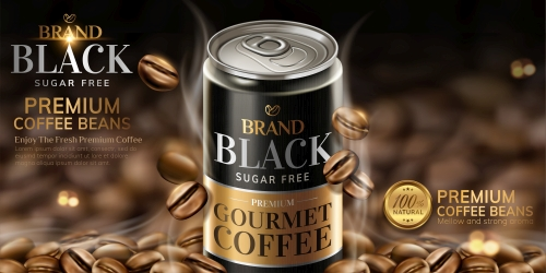 Premium black canned coffee ads with beans background in 3d illustration 02