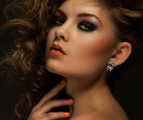 Pretty Woman with Curls and Makeup Stock Photo 02