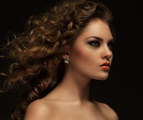 Pretty Woman with Curls and Makeup Stock Photo 03