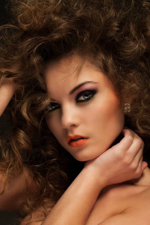 Pretty Woman with Curls and Makeup Stock Photo 04