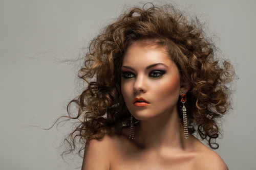 Pretty Woman with Curls and Makeup Stock Photo 05