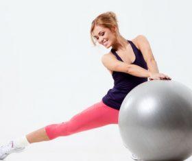 Primary yoga ball action Stock Photo