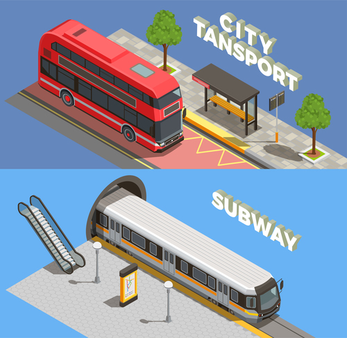 Public city transport isometric banners vector