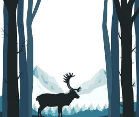 Reindeer silhouette vector material in the forest