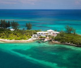 Resort on the Palm Island of Bahamas Stock Photo