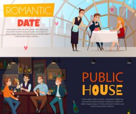Restaurant pub visitors horizontal banners vector