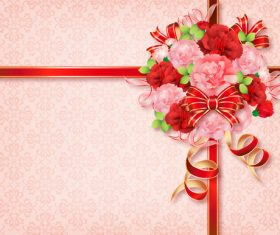 Ribbon with flower card template vector 03