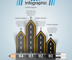 Road infographic template vectors material 02