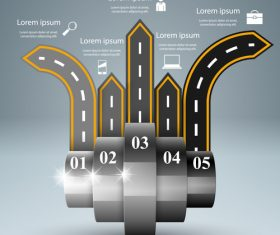 Road infographic template vectors material 03