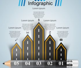 Road infographic template vectors material 06
