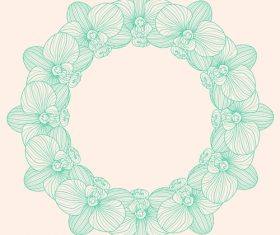 Round orchid frame vector