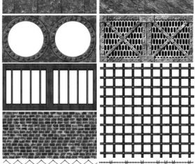 Rust Metal Grid Stone Wall and Dungeon Photoshop Brushes