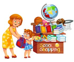 School shop with cute student vector 02