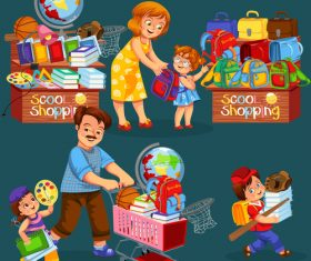 School shop with cute student vector 07