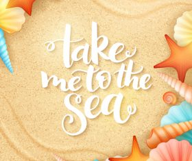 Sea water beach with shell vector background