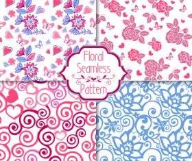 Set of pink seamless patterns with hearts vector