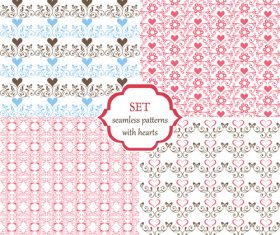 Set of seamless patterns with hearts and butterflies vector