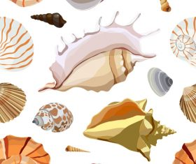 Shells and conch seamless pattern vector