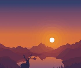 Simple lake sunset scenery vector illustration
