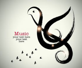 Simple music background design vector 02